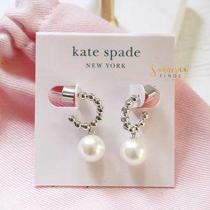 Kate Spade Modern Imitation Pearl Drop Huggie Hoop